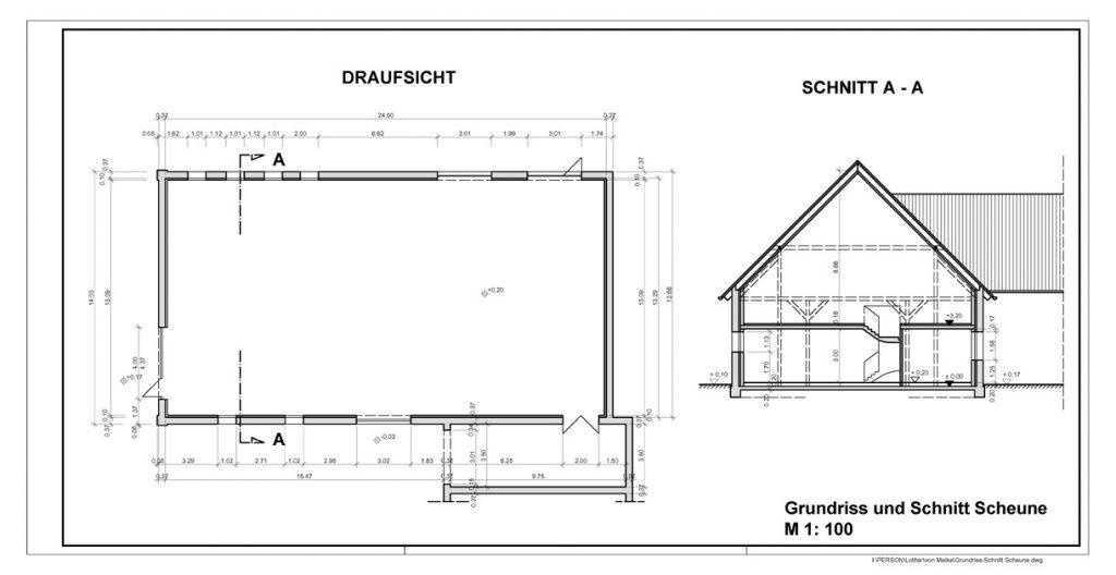 klein Grundriss-Schnitt Scheune